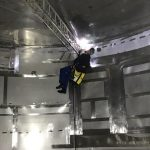 4 - local welder in action after defects at crack is detected by NDT
